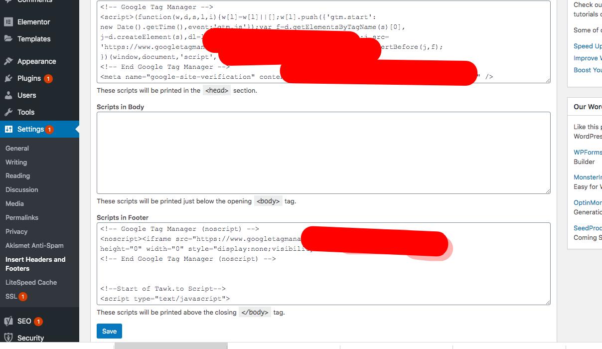 Insert header and footer wordpress plugin