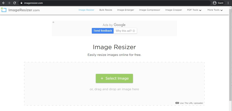 Image Resizer landing page