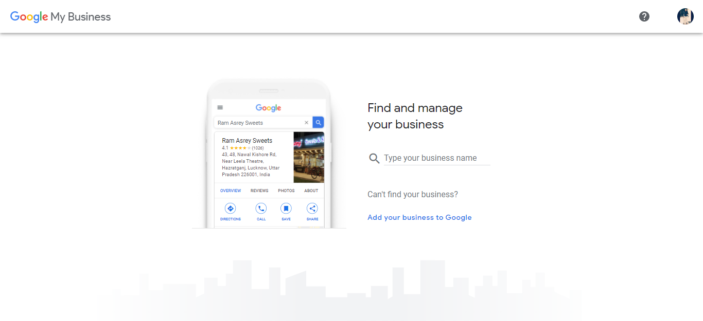 Google my business front page