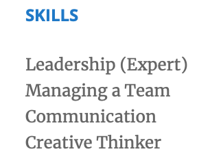 Don't include soft skill in your skills section