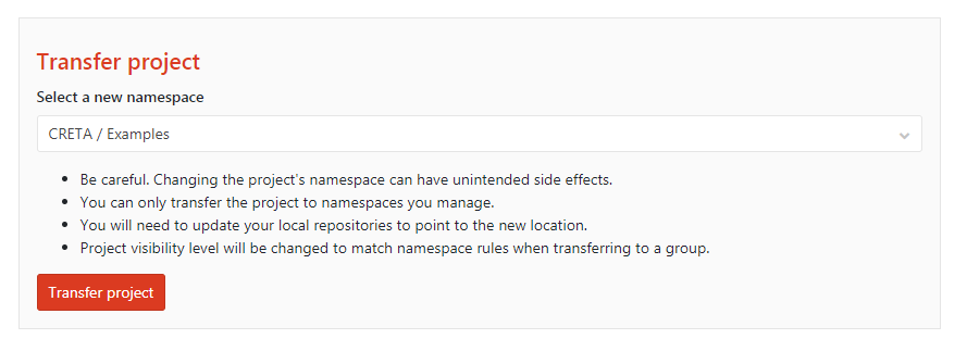 Transfer project to new Namespace