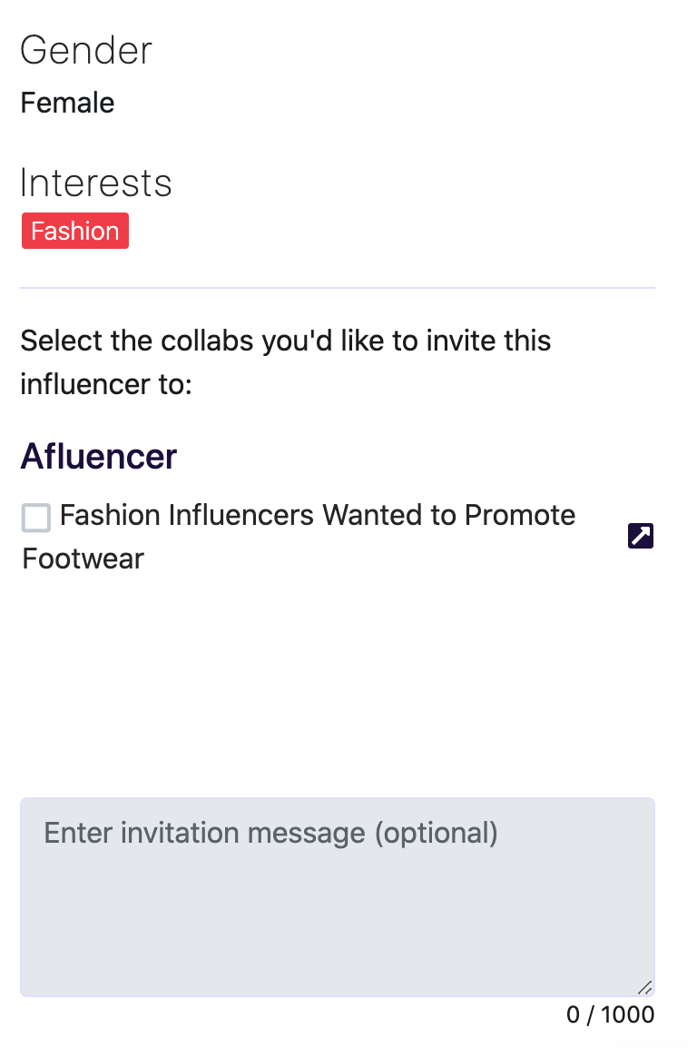 Inviting influencers to your Afluencer collab