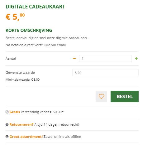 Digitale kadobon verkopen