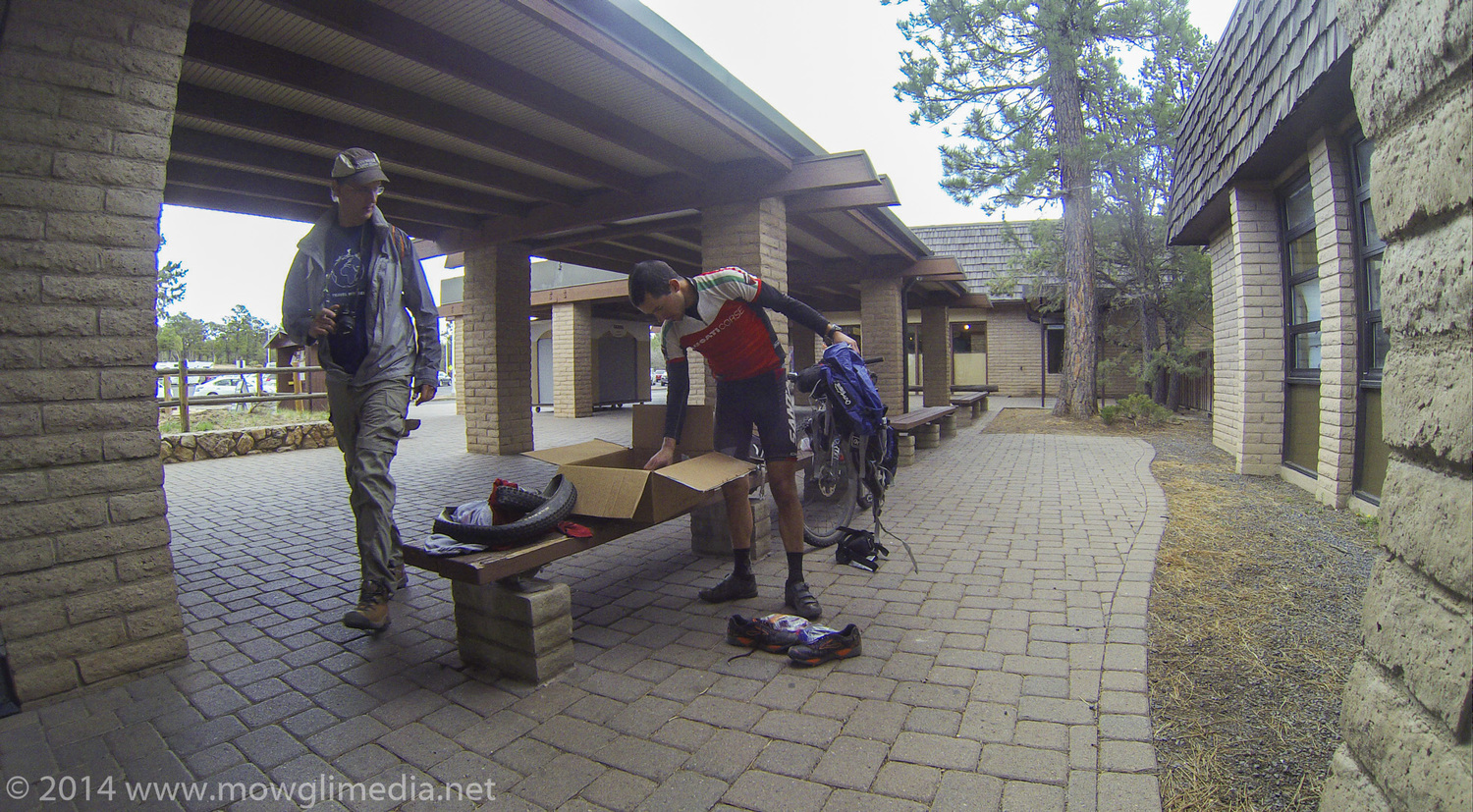 Unpacking my hiking gear at the South Rim post office