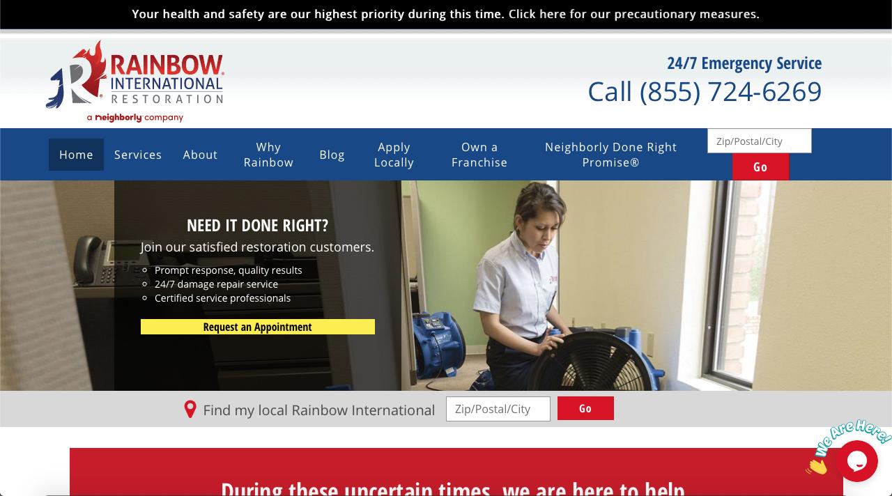 Rainbow international restoration franchise website homepage