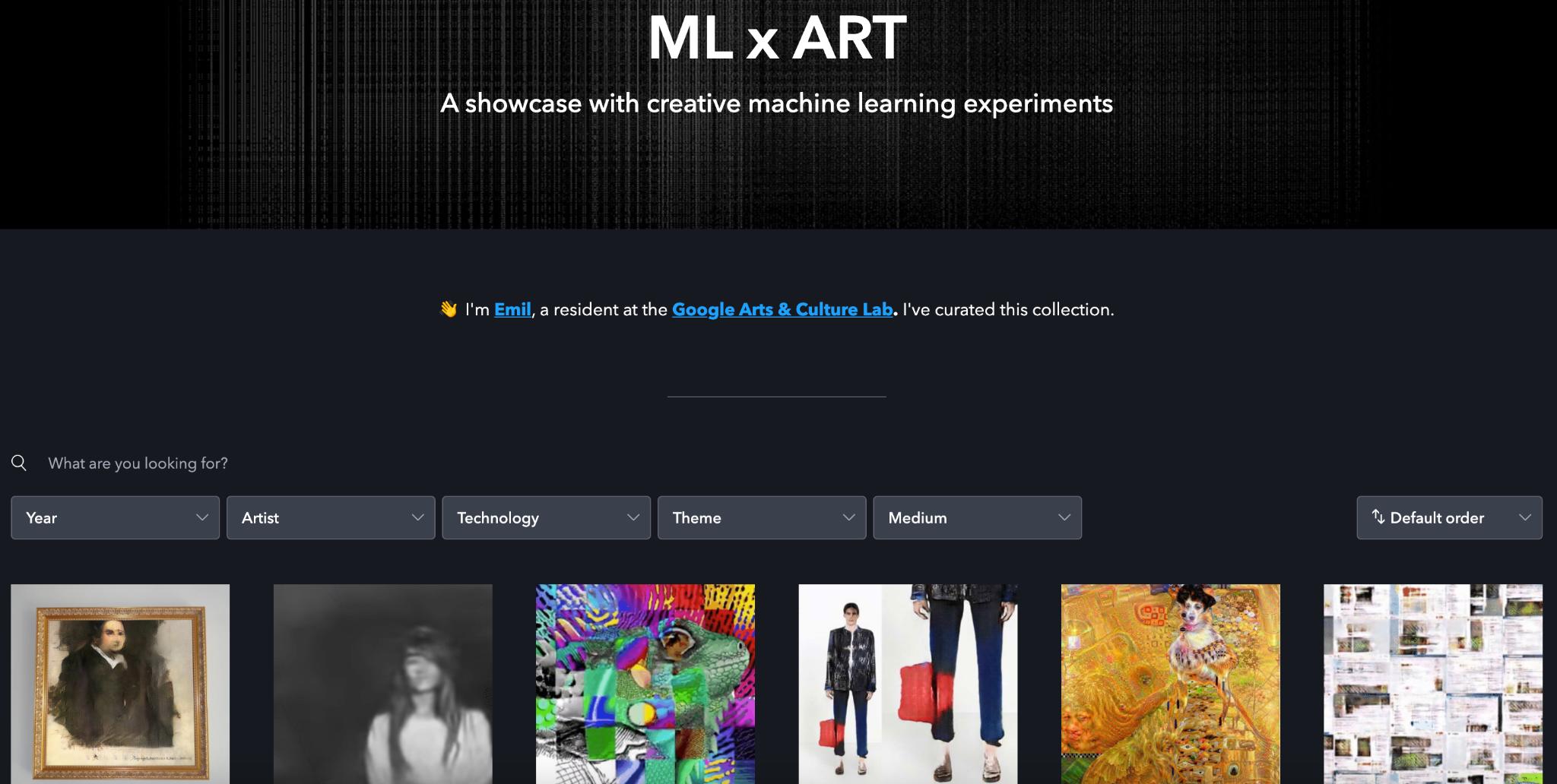 Homepage view of MLxART