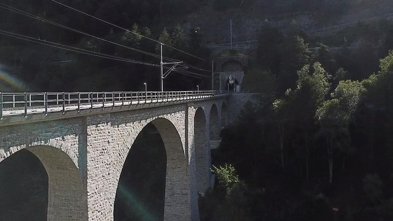 Climbing Breithorn by bike - bridge over Rhone River