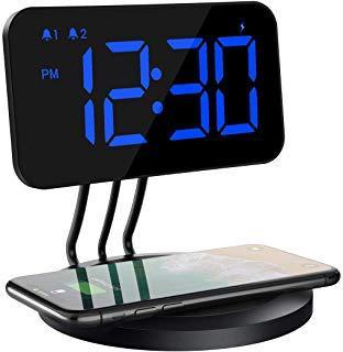 Mpow Reloj Despertador Digital con Cargador Inalámbrico, Brillo de 6 Niveles, Alarma Dual, 3 Tonos con 2 Niveles para iPhone X, 8, 8 Plus, Samsung Galaxy S9/S9 Plus/S8/Note 8/S7 para la Carga de Qi