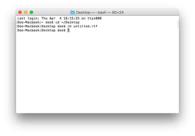 deletar um arquivo no terminal do MacOS
