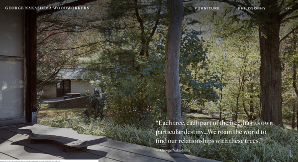 george nakashima woordworkers best website design award winner 2019