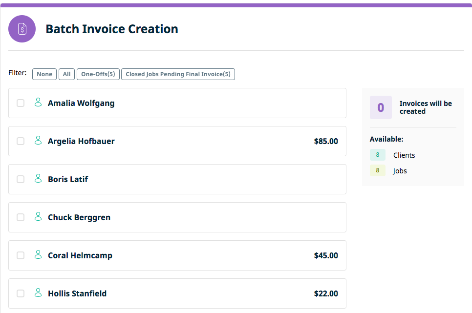 Batch Invoice Creation | Jobber Docs