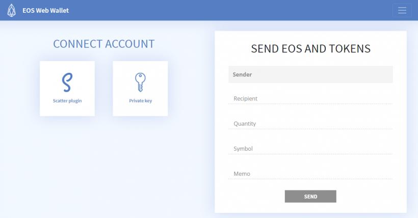 Интерфейс нового кошелька от Eos