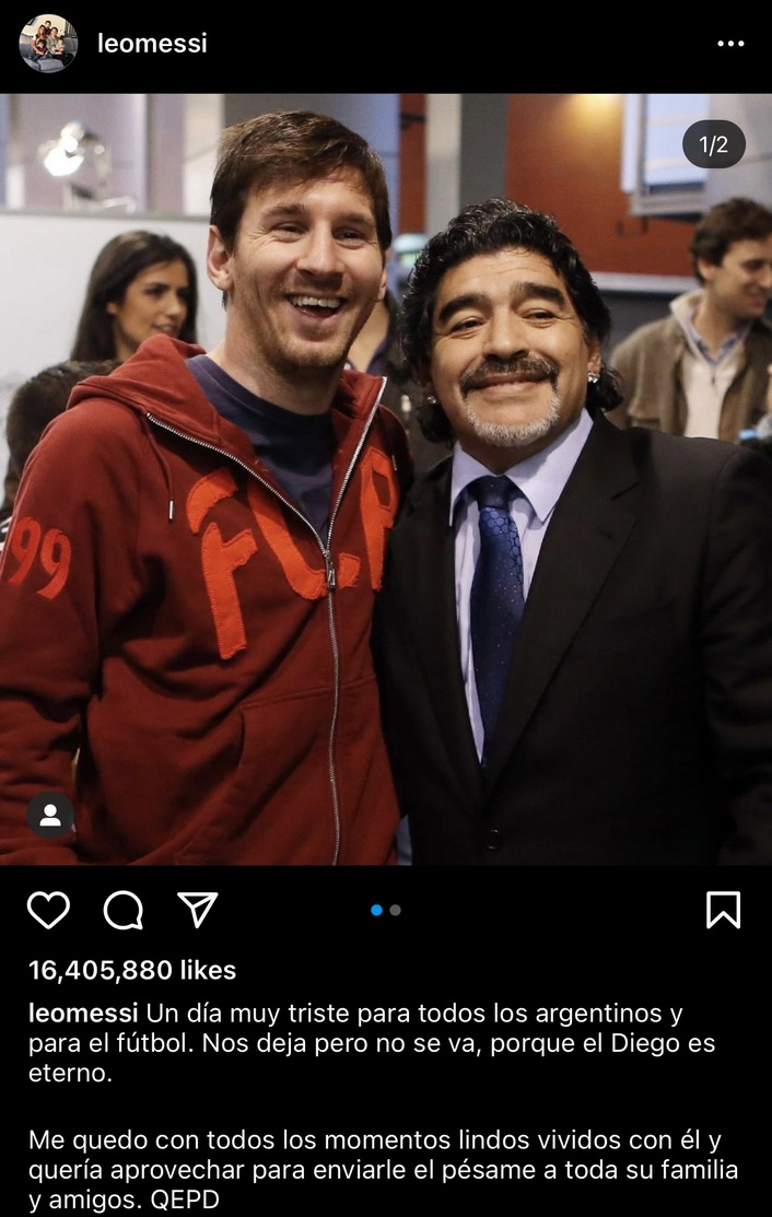 Leo Messi's tribute to Maradona post