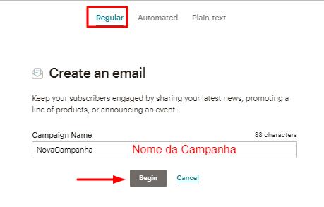 opção de criar campanha de email padrão no mailchimp