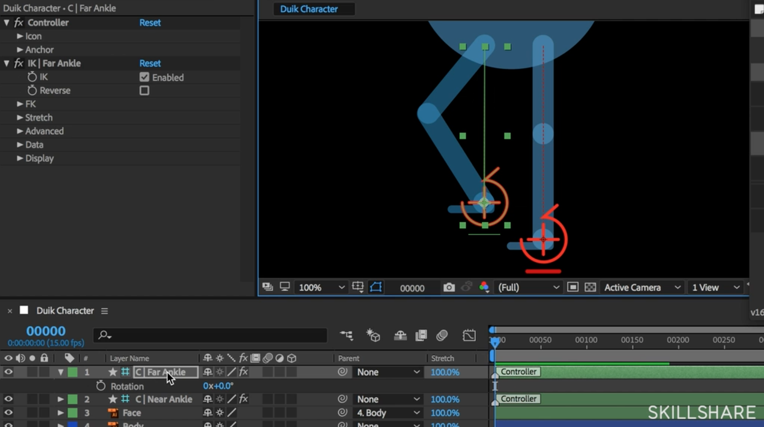 Once you create your rig, you will be able to move each of the character's legs with the controller at each ankle.