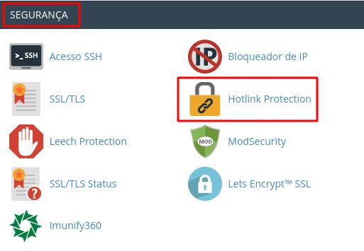 opção hotlink protection na aba segurança do cpanel