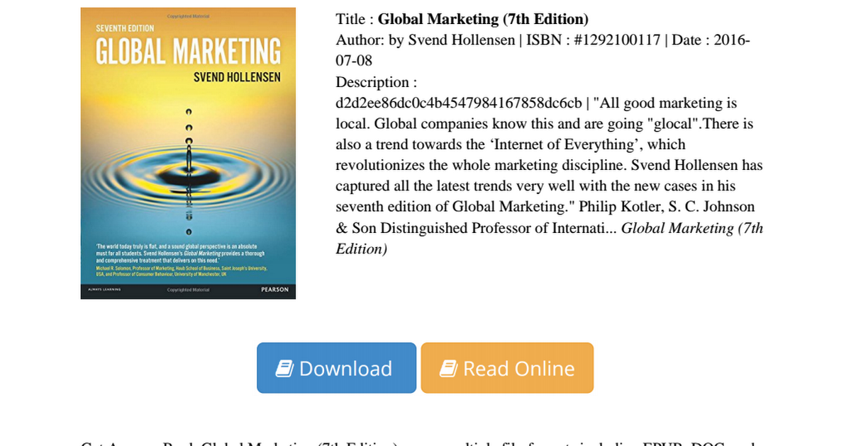 global marketing a decision oriented approach 4th ed svend hollensen Global marketing (7th edition) [svend hollensen] global marketing: a decision-oriented approach (4th svend hollensen's global marketing provides a thorough.
