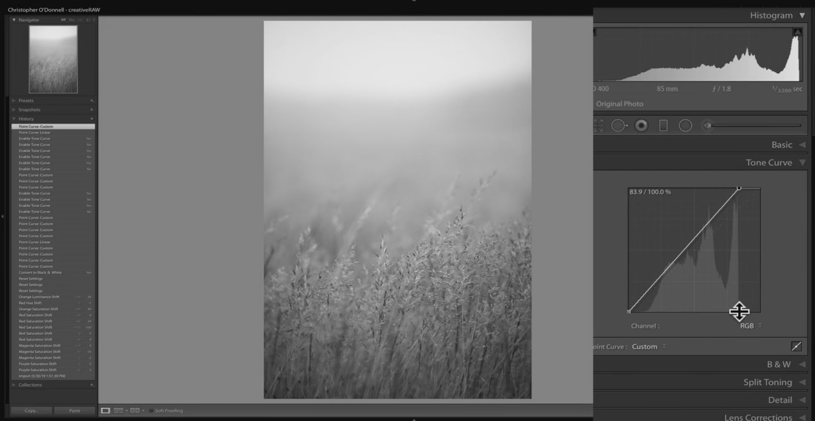 changing brightest tone in lightroom