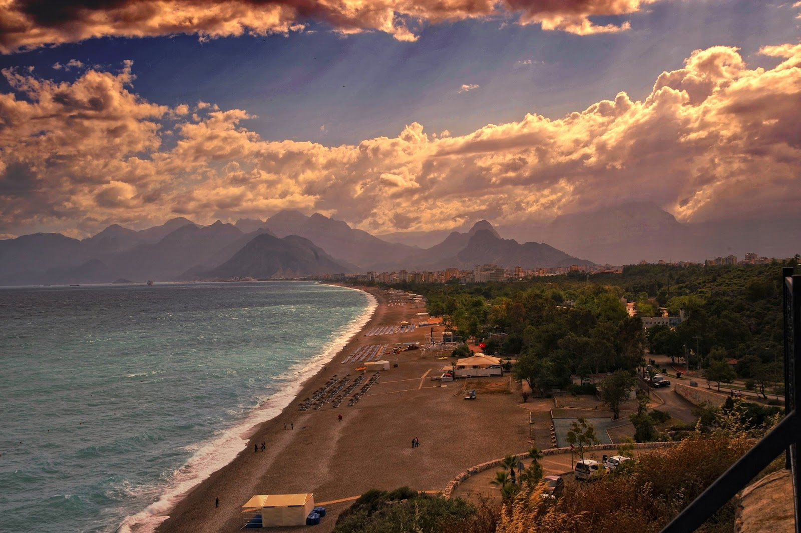 altinkum beach in antalya turkey riviera coast colorful light