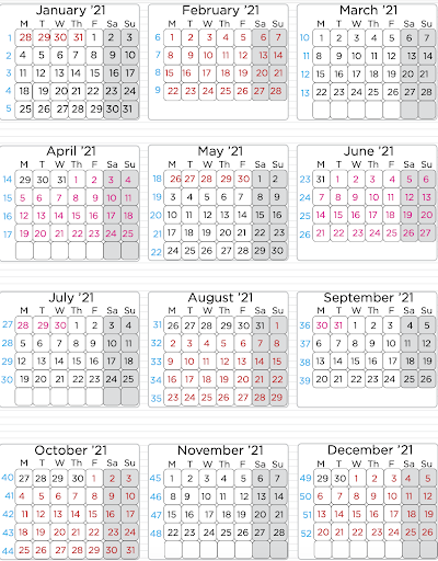 Sample traditional media buying broadcast calendar. Each month is divided into weeks designated by a number.