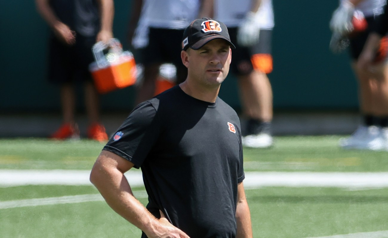 Head coach Zac Taylor of the Cincinnati Bengals looks on during Mandatory Minicamp on June 15, 2021, in Cincinnati, Ohio. (Photo by Dylan Buell/Getty Images)