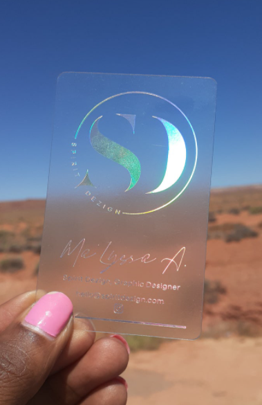 holographic business card on desert background gift ideas