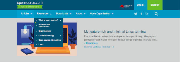Screenshot of a drop down menu on Opensource.com website