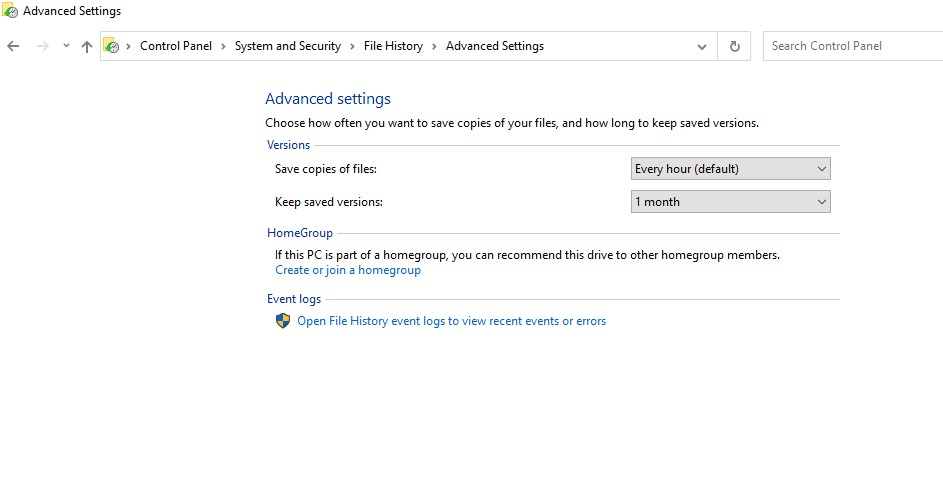 """click on the advanced settings option. You will see """"Keep saved versions,"""" open it."""