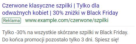 Opis: Zdjęcie z interfejsu Google Ads. Przykładowa reklama z funkcja COUNTDOWN.