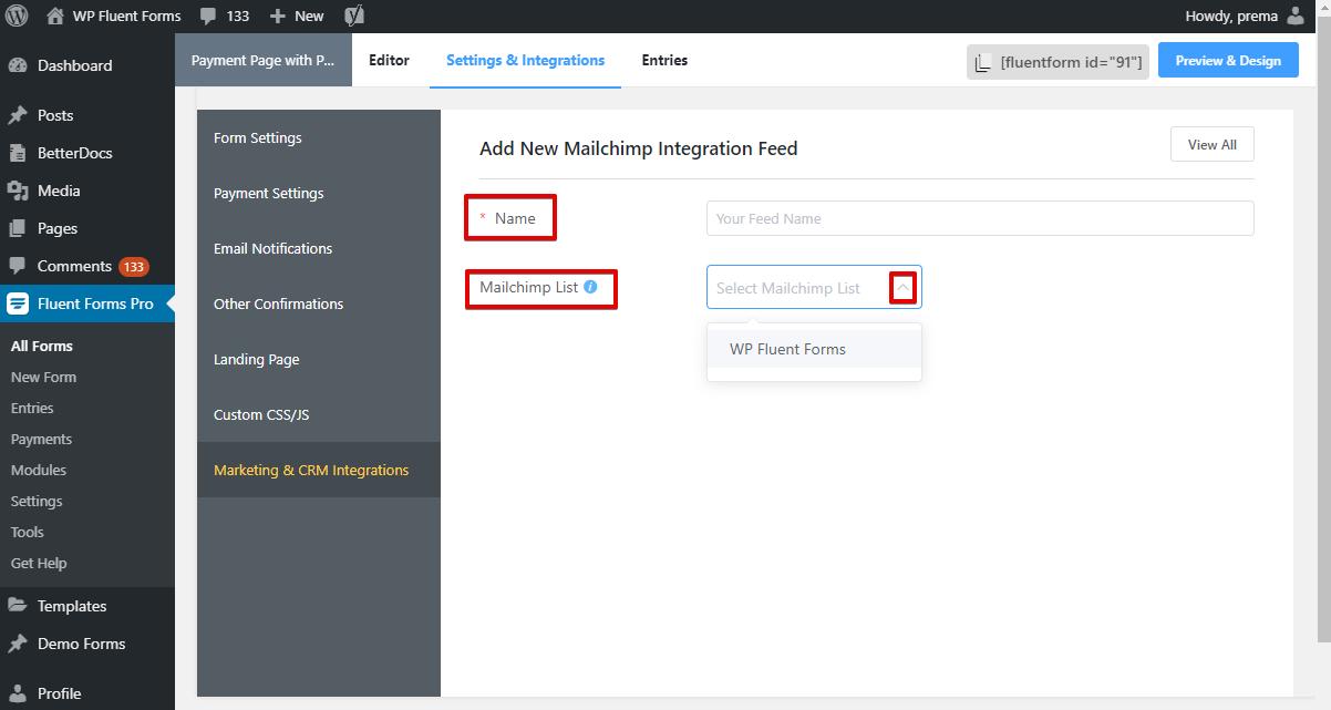 Mailchimp Integration - WP Fluent Form - Name and Mailchimp List