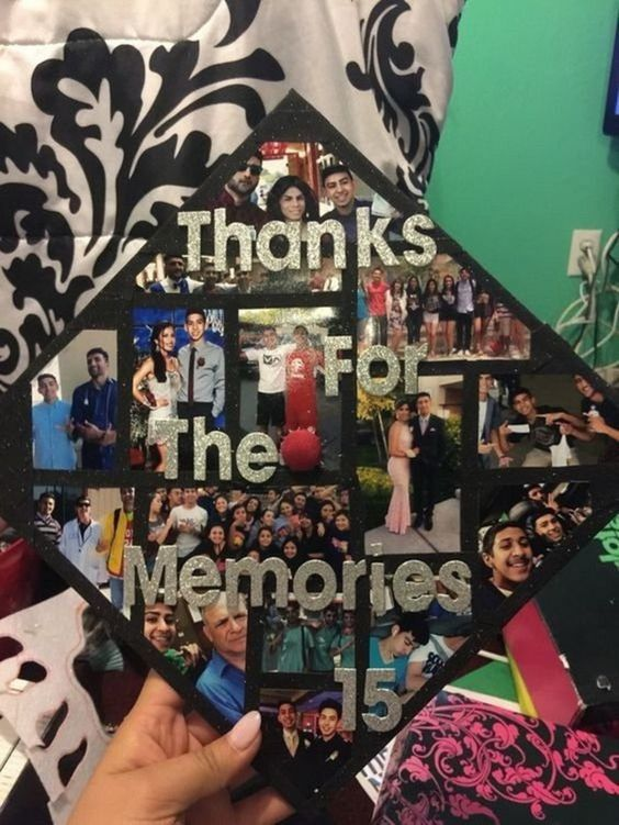 """A graduation cap that reads """"Thanks for the memories."""""""