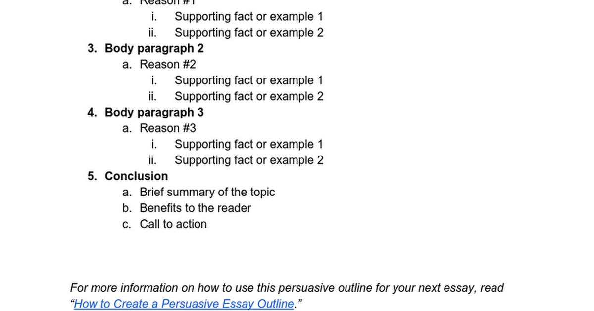 Persuasive essay outline google docs