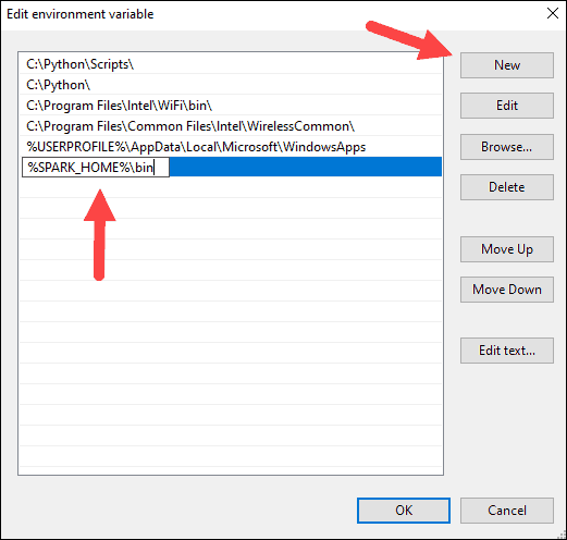 Adding the Spark home to the path Windows variable.
