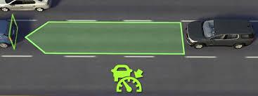 A car measures the distance to the next vehicle