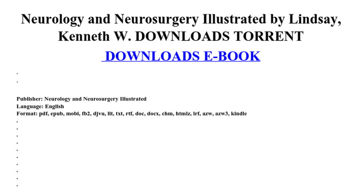 Neurology and neurosurgery illustrated by lindsay kenneth w neurology and neurosurgery illustrated by lindsay kenneth w downloads torrent google docs fandeluxe Images