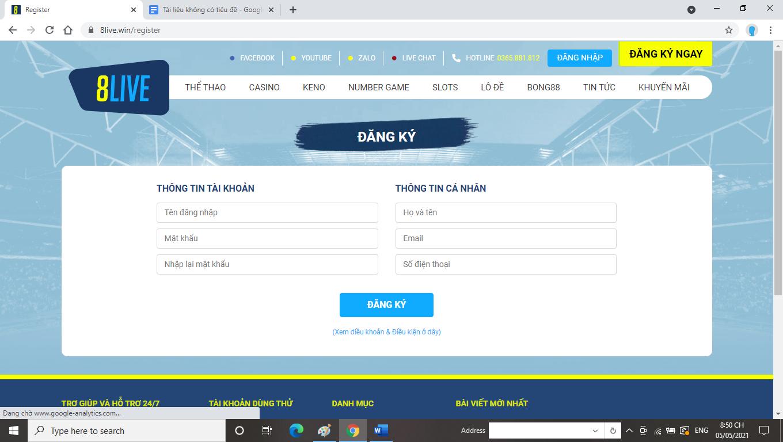 Hướng dẫn đăng ký tài khoản nhà cá 8LIVE