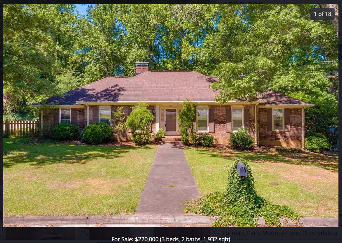 $220K home in/near Greenville SC with low interest rates