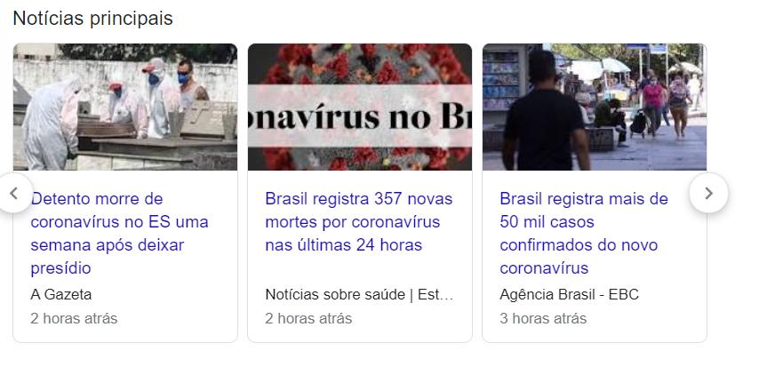 exemplo da seção Google Notícias na SERP do Google