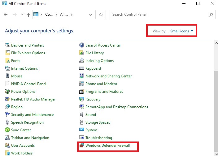 control panel Windows Defender Firewall option