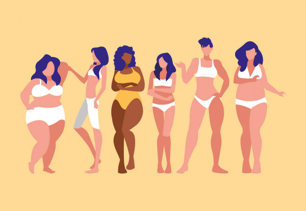 Women of different sizes and races modeling underwear — Stock Vector