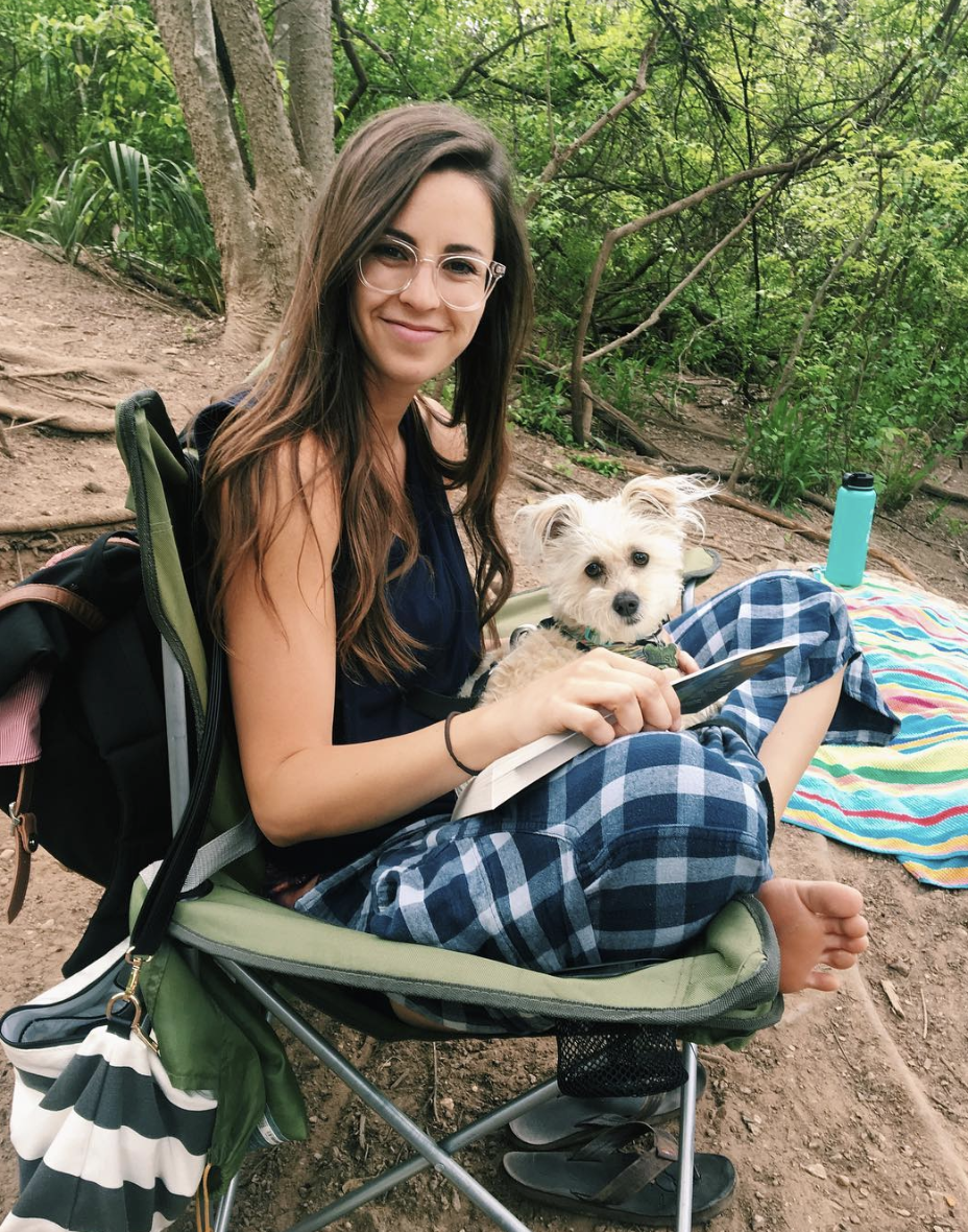 Emily Anderson and her lap-dog Daisy