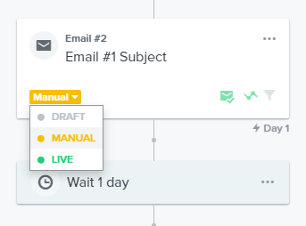 selecting the manual option in Klaviyo email.