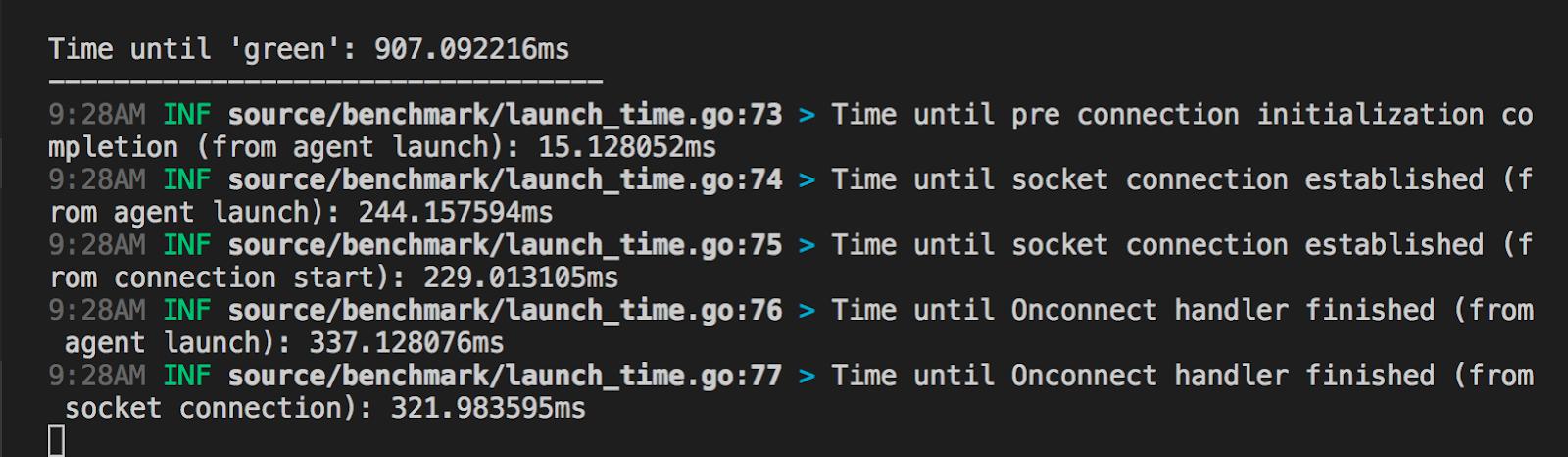 screenshot of the benchmarking logs