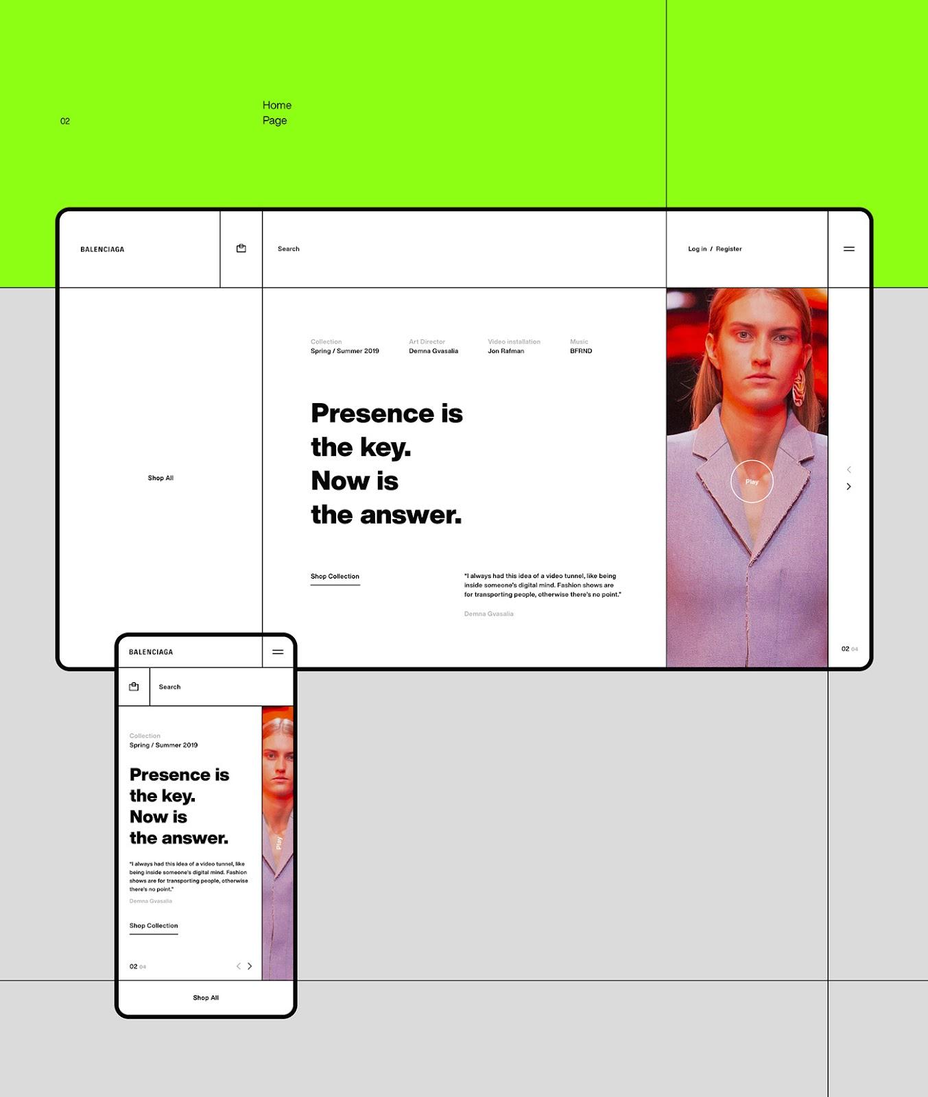 Web Design Concept for Balenciaga