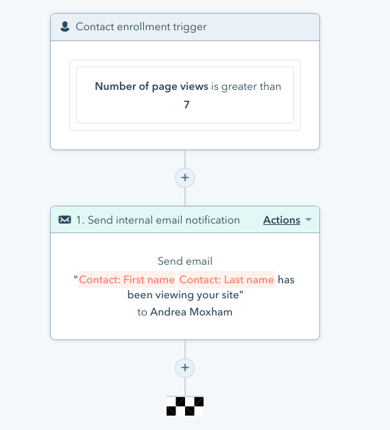 Example of an internal notification workflow