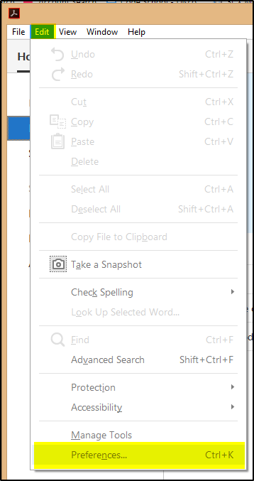 Adobe Reader Edit Menu
