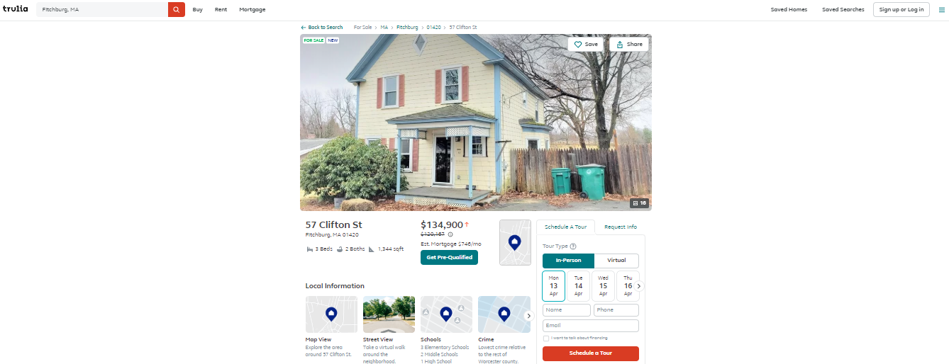 How to build a real estate website: Trulia Property Listing Page