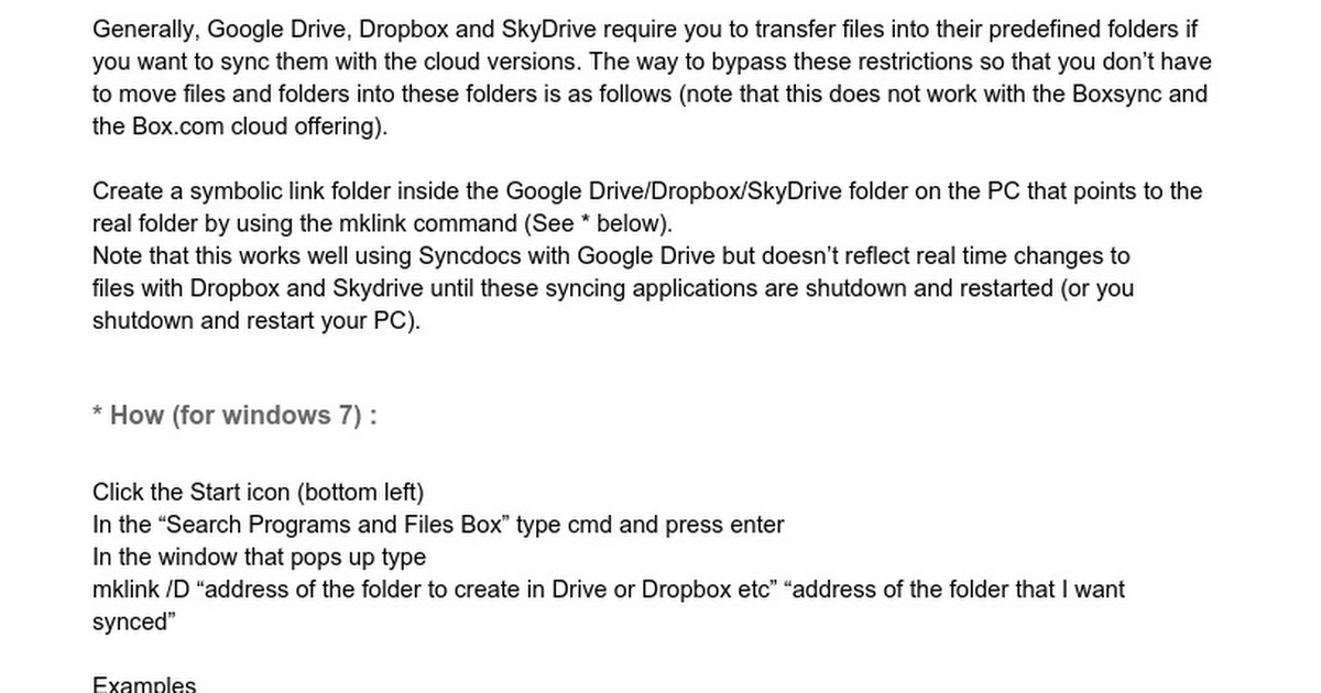 Setting Up Folders To Sync Outside Drivedropboxflydrive And