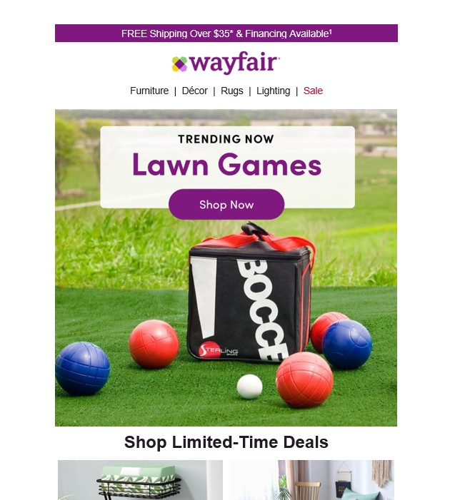 an example email from wayfair showing how companies can use seasonal patterns to segment audiences