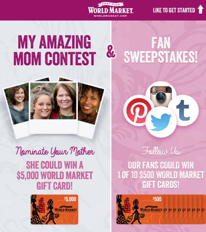 World Market My Amazing Mom Contest & Fan Sweepstakes!